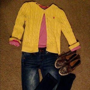 Ralph Lauren yellow cable cardigan sweater